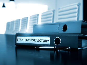 Strategy For Victory - Business Concept on Blurred Background. Strategy For Victory - Concept. Strategy For Victory. Business Illustration on Toned Background. 3D Render.